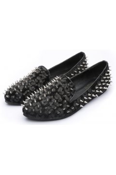 ​Pony Fur Grey Black Leopard Punk Rock Gothic Spikes Studs Loafers Flats Shoes