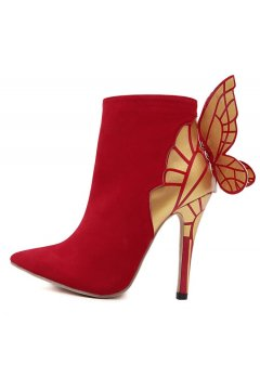 ​Red Butterfly Suede Stiletto High Heels Point Head Ankle Boots Women Shoes
