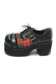 Red Tartan Scotland Checkers Plaid Lolita Creepers Platforms Chunky Sole Heels Shoes