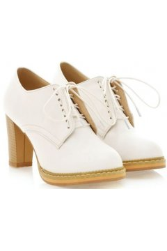 White Old School Oxfords Lace Up High Heels Ankle Boots Booties Women Shoes