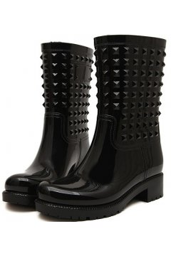 Black Polyresin Square Studs Punk Rock Gothic Wellington Wellies Ankle Rain Boots Shoes