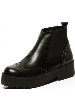 Black Leather Vintage Platforms Chunky Thick Sole Ankle Boots Shoes