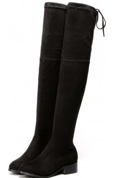 Suede Black Long Knee Point Head Tied Up Boots Women Shoes
