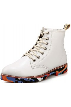 White Leather Mens Lace Up Punk Rock Gothic Colorful Sole Military Combat Boots
