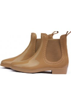Brown Khaki Polyresin Glossy Punk Rock Gothic Wellington Wellies Ankle Rain Boots Shoes
