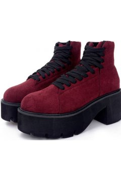 Red Burgundy Suede Platforms Lace Up Chunky Sole Heels Punk Rock Ankle Boots
