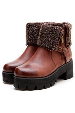 Brown Woolen Ankle Flap Chunky Platforms Sole Heels Vintage Boots Shoes