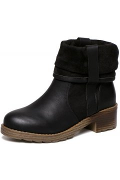 Black Vintage Leather Old School Grunge Military Combat Ankle Unfold Women Boots Shoes