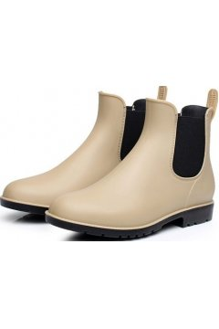 Beige Khaki Polyresin Ankle Punk Rock Ankle Wellies Wellington Women Rain Boots Shoes