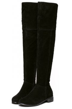 Black Velvet Suede Leather Over Knee Point Head Long Boots Shoes