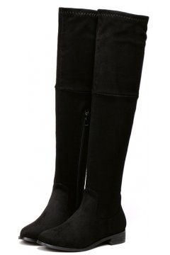 Black Faux Suede Leather Stretchy Over Knee Point Head Long Military Rider Boots Shoes