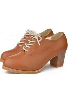 Brown Leather Old School Oxfords Lace Up High Heels Ankle Boots Booties Women Shoes