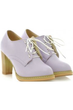 Purple Lavender Old School Oxfords Lace Up High Heels Ankle Boots Booties Women Shoes