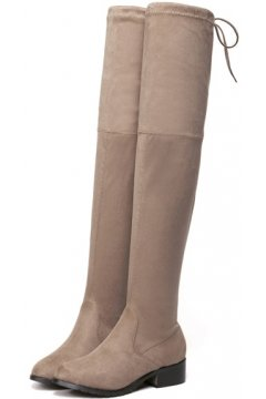Suede Brown Mocha Long Knee Point Head Tied Up Boots Women Shoes