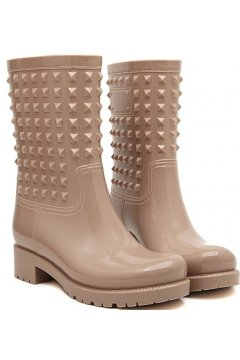 Brown Khaki Polyresin Square Studs Punk Rock Gothic Wellington Wellies Ankle Rain Boots Shoes