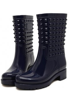 Dark Blue Polyresin Square Studs Punk Rock Gothic Wellington Wellies Ankle Rain Boots Shoes