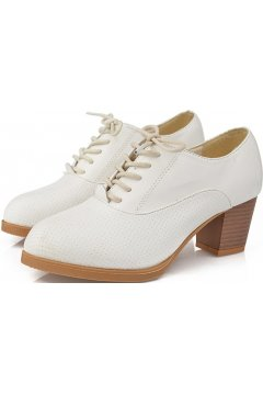 White Leather Old School Oxfords Lace Up High Heels Ankle Boots Booties Women Shoes
