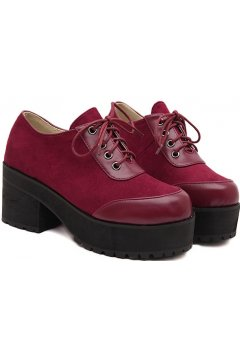 Suede Red Burgundy Lace Up Oxfords Chunky Sole Heels Platforms Women Shoes
