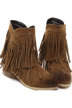 Vintage Brown Suede Cross Fringes Punk Rock Ankle Women Boots Shoes