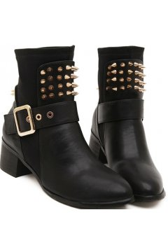 Black Leather Gold Metals Spikes Punk Rock High Top Point Head Ankle Combat Military Boots Shoes