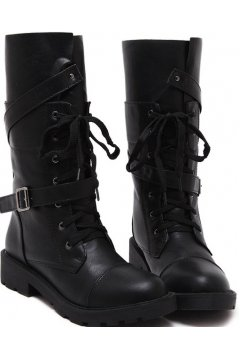 Black Leather Lace Up High Top Gothic Punk Rock Military Sole Combat Women Boots Shoes