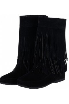 Black Suede Fringes Bohemia Tribal Hidden Wedges Mid High Top Winter Boots Shoes