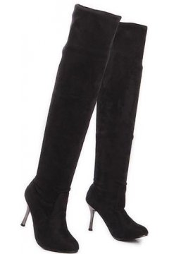 Black Brown Suede Point Head Silver Stiletto High Heels Over Knee Length Long Boots Shoes