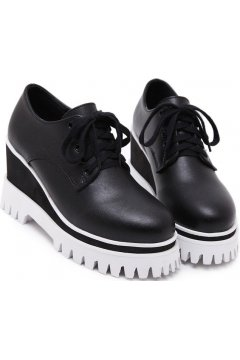 Black Leather Platforms Lace Up Wedges Punk Rock Gothic Oxfords Women Shoes