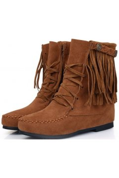 Brown Suede Fringes Bohemia Tribal Lace Up Mid High Top Winter Boots Shoes