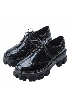Black Patent Leather Lace Up Old School Gothic Punk Chunky Platforms Sole Oxford Shoes