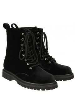 ​Velvet Suede Black Lace Up High Top Punk Rock Gothic Military Combat Boots Shoes