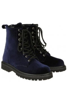 Velvet Suede Blue Lace Up High Top Punk Rock Gothic Military Combat Boots Shoes