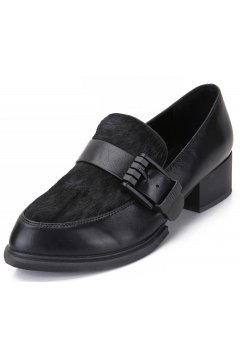 Black Pony Fur Old School Vintage Oxfords Loafers Flats Dress Shoes