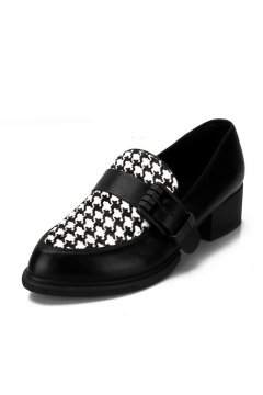 Houndstooth Pattern Black White Checkers Loafers Flats Dress Shoes