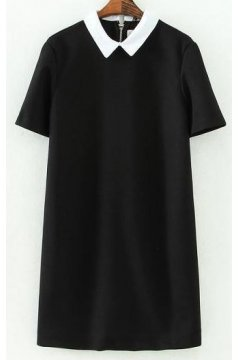Short Sleeves Black White Peter Pan Collar Skater A Line Cocktail Skirt Dress