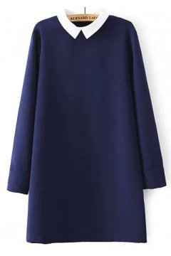 Long Sleeves Black Blue White Peter Pan Collar Skater A Line Cocktail Skirt Dress