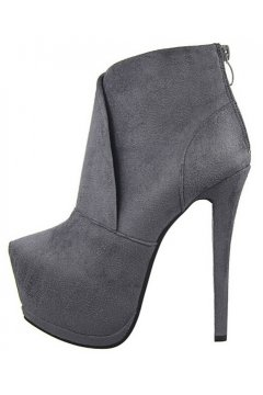 Grey Suede Platforms Stiletto High Heels Ankle Boots Shoes