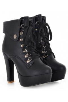 Black Beige White Punk Rock Funky Lace-Up Platforms Military Combat High Heels Boots