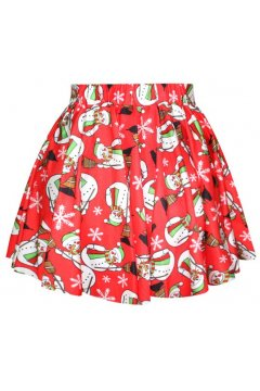 GrabMyLook Red Snowman Snowflakes Xmas Christmas Skater A Line Dress Mini Skirt