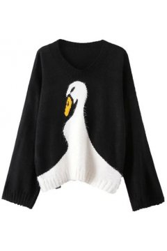 Black Grey White Duck Swan Knit Loose Fit Long Sleeves Sweater