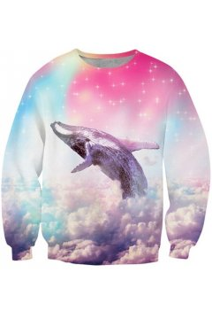 ​Pink Blue Pastel Gradual Color Rainbow Dolphin on Sky Long Sleeves Sweatshirts