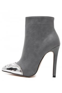 Silver Tip Grey Stiletto High Heels Point Head Ankle Boots Women Shoes