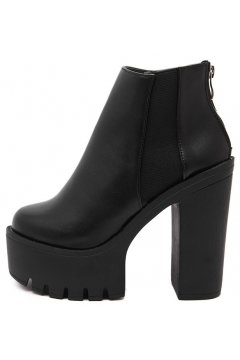 Black Leather Platforms Chunky Sole Heels Military Women Chelsea Ankle Boots Shoes
