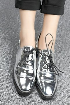 ​Silver Metallic Patent Leather Lace Up Flats Oxfords Women Shoes