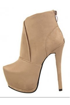 Beige Khaki Suede Platforms Stiletto High Heels Ankle Boots Shoes