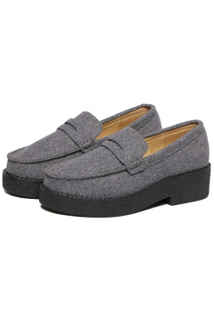 Grey Woolen Fabric Old School Oxfords Loafers Shoes Flats