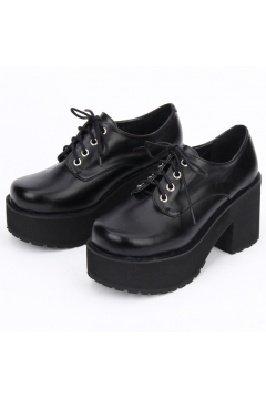 Black Lace Up Oxfords Chunky Sole Heels Platforms Women Shoes