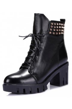 Black Leather Lace Up Spike Punk Rock Military Chunky Heel Platforms Ankle Boots Shoes
