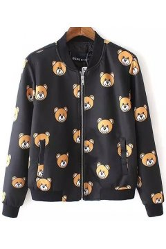 ​Black Little Cute Brown Bears Monogram Black Long Sleeves Aviator Bomber Rider Jacket