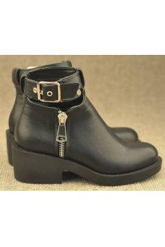 Black Punk Rock Chunky Sole Heels Gothic Ankle Strap Chelsea Boots​